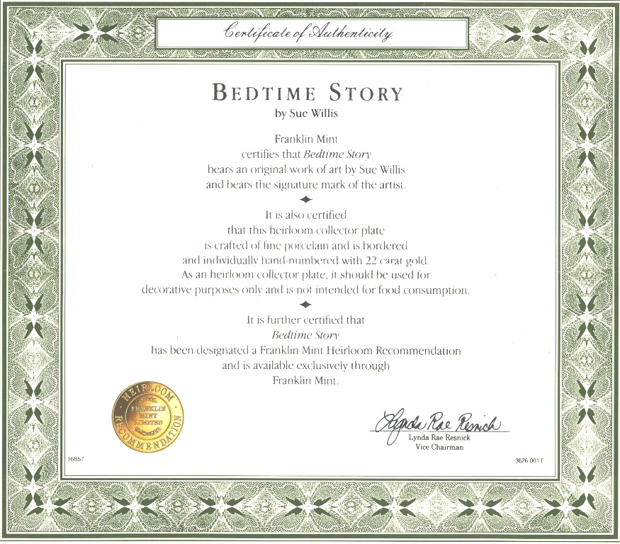 CERTIFICATE BEDTIME STORY