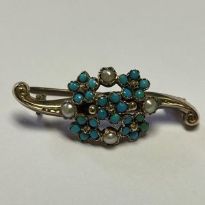 SEED PEARL AND TURQUOISE GOLD BROOCH NSN (1)