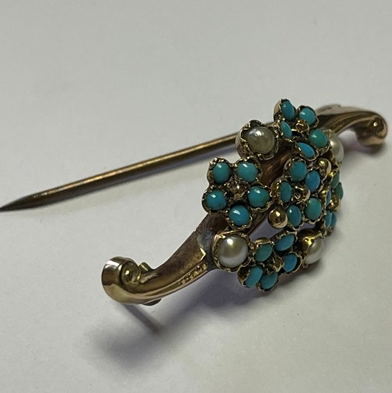 SEED PEARL AND TURQUOISE GOLD BROOCH NSN (3)